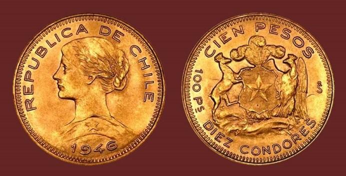"""""""Bullion born"""", i 100 pesos della Repubblica del Cile"""